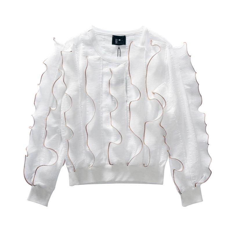 Gótico 2019 Calle Moda Camisas Algodón Nuevos Volantes Larga Primavera Plisado Marca Beige De La Mujeres Manga negro blanco Blusa wZtq7HH