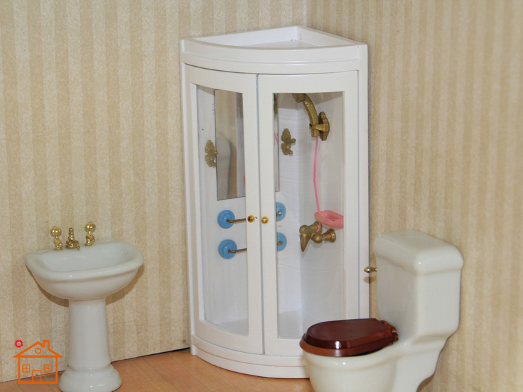 1 12 Doll House Mini Bathroom Shower Toy Play House Toilet Wc