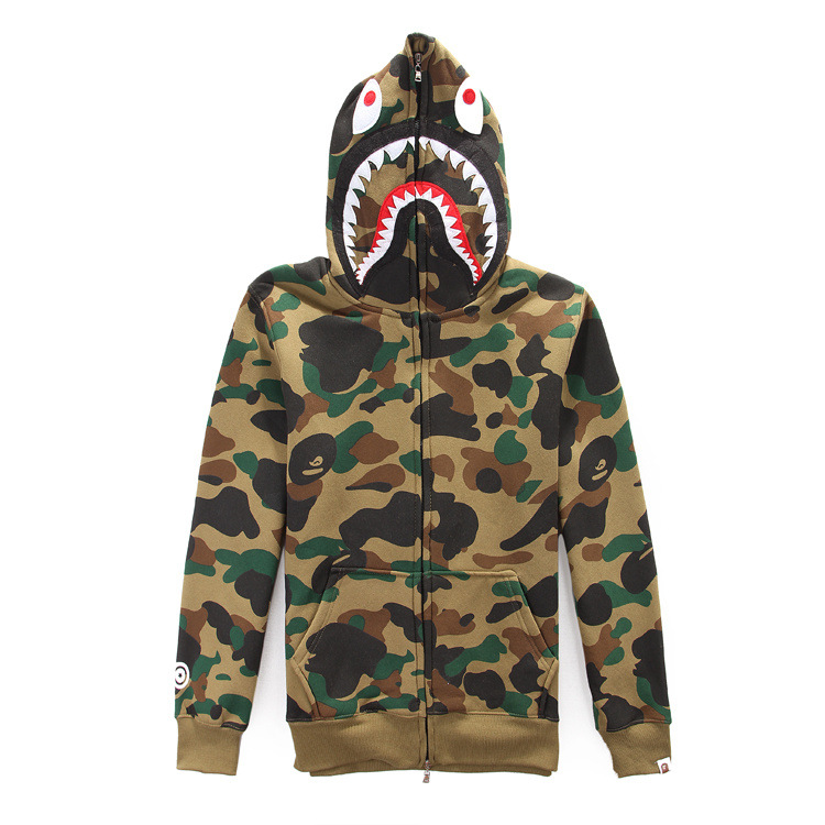 91d1f5fcfbfa High quality Men s full zipper bape shark hoodie camouflage Army Military  fleece hoodies and sweatshirts winter mens camo jacket