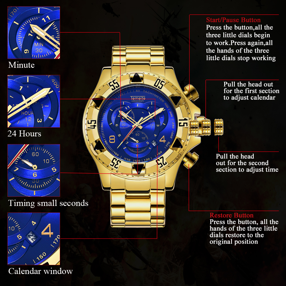 TEMEITE Fashion Oversize Quartz Watch Men Chronograph Working 3 Sub-dial 6 Hands Golden Military Mens Watches Top Brand Luxury 11