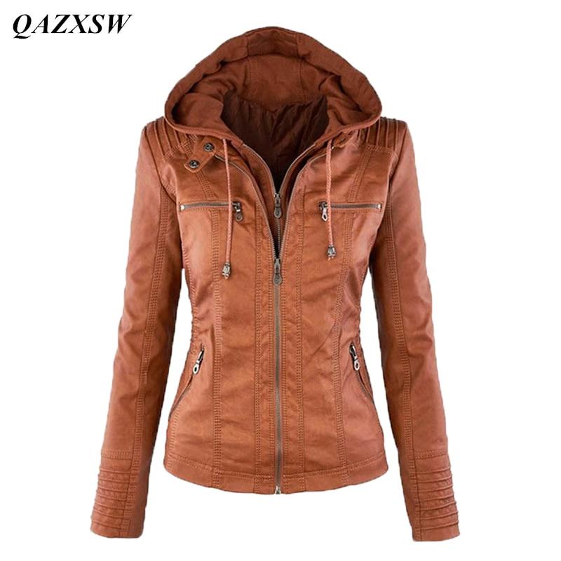 Moto rowerzystę dołączany qazxsw nowy jesień zima kobiet z kapturem zipper up faux kurtki skórzane kurtki motocyklowe pu juniorzy yx8830