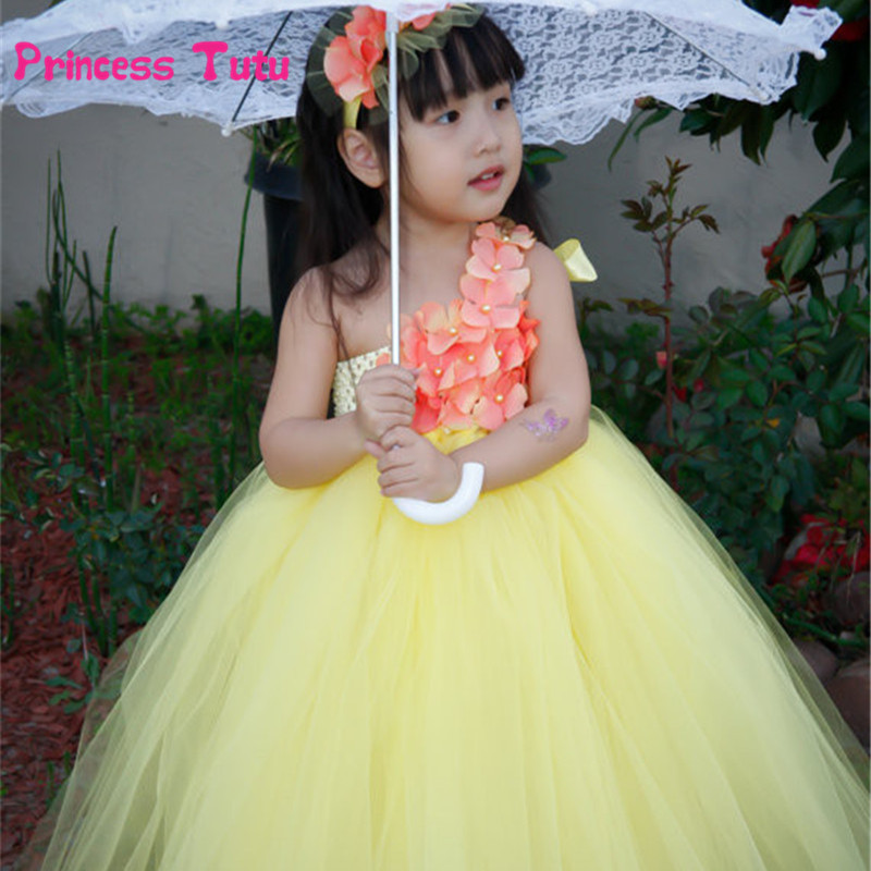 Single Shoulder Tutu Dress Girls Tulle Flower Girl Dresses Wedding Party Princess Dress Child Kids Bridesmaid Pageant Costumes