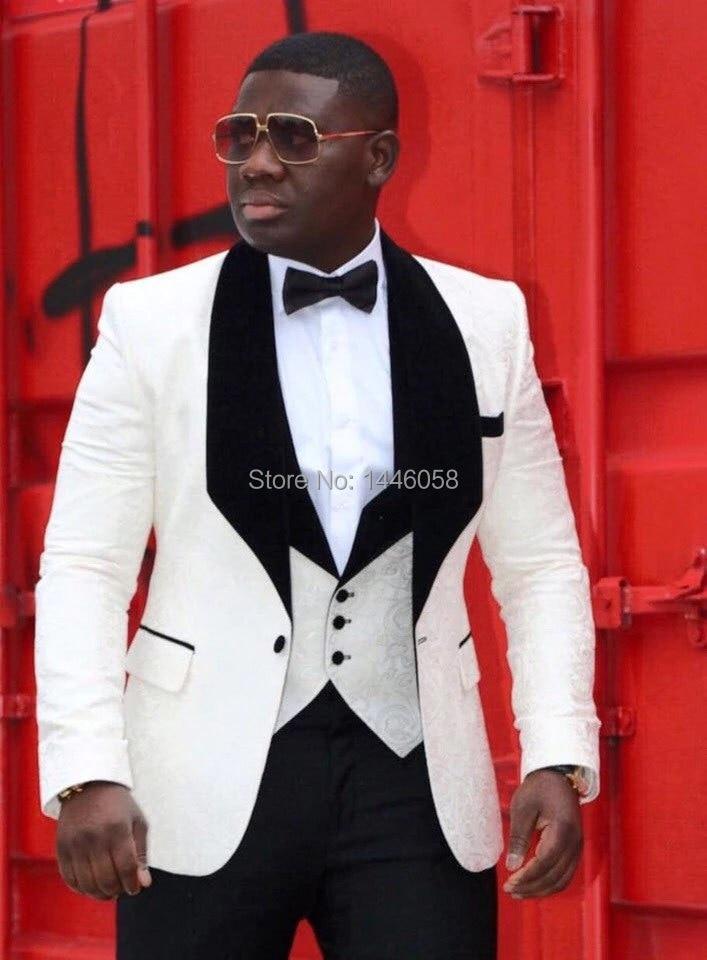 Costume Homme Mariage 2018 Groom Men Suit Slim Fit Best Man Blazer Bridegroom Wedding Suits For Men Tuxedo Jacket+Pants+Vest+Bow