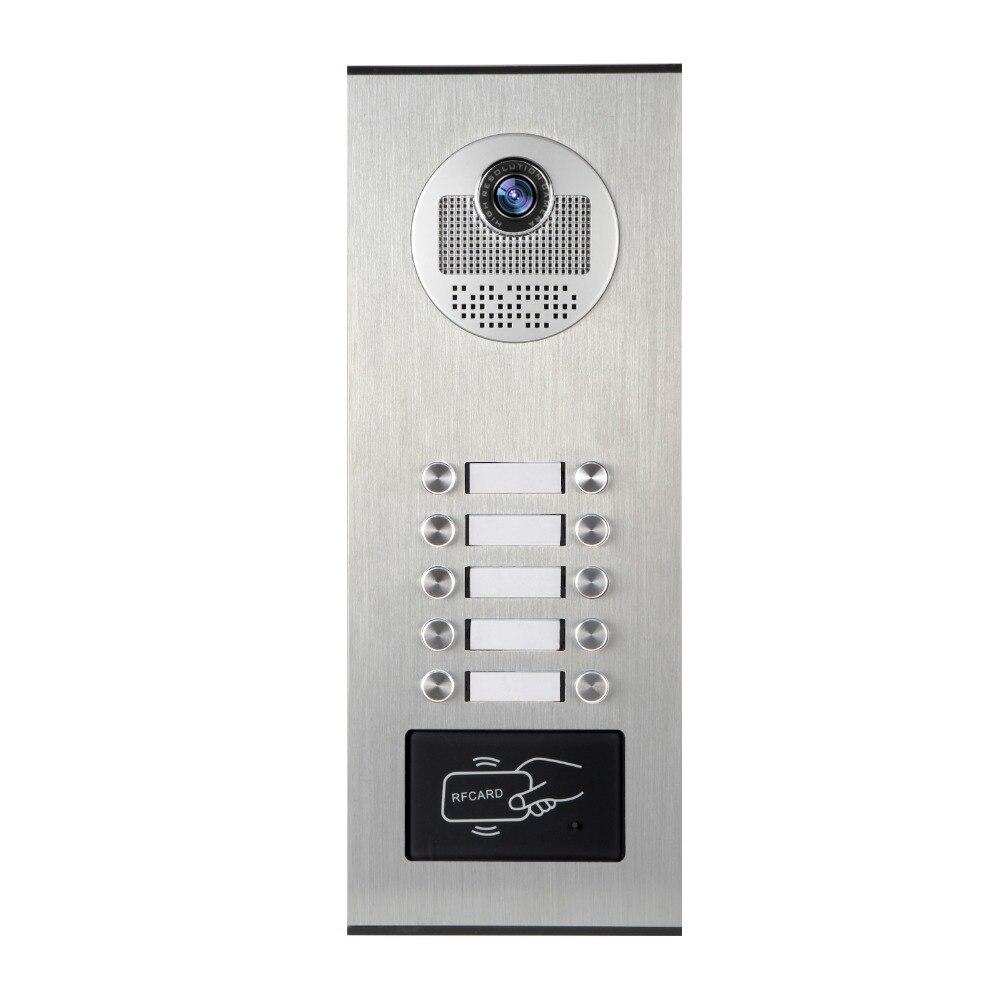 YobangSecurity Metal Aluminum Outdoor RFID Access Door Camera For 10 Units Apartment Video Intercom Doorbell Door Phone System