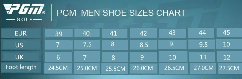 Golf shoe size chart