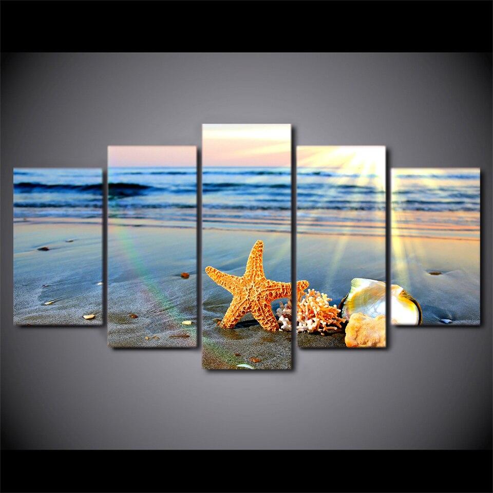 5 Stück Gerahmte HD Gedruckt Strand Sehenswürdigkeiten Muscheln ...