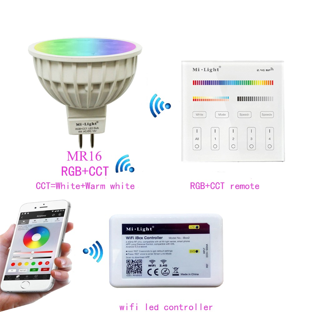 MR16 4W Mi.light RGB+CCT Led Bulb Spotlight AC/DC 12V+2.4G WIFI Ibox2 Led Controller+B4/T4 RGB+CCT Touch Panel Remote Controller