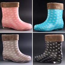 Fashion Cheap Rubber Boots for Women Rain Boots With Fur Warm Snow Boots Women's Water Shoes Waterproof Woman Shoes