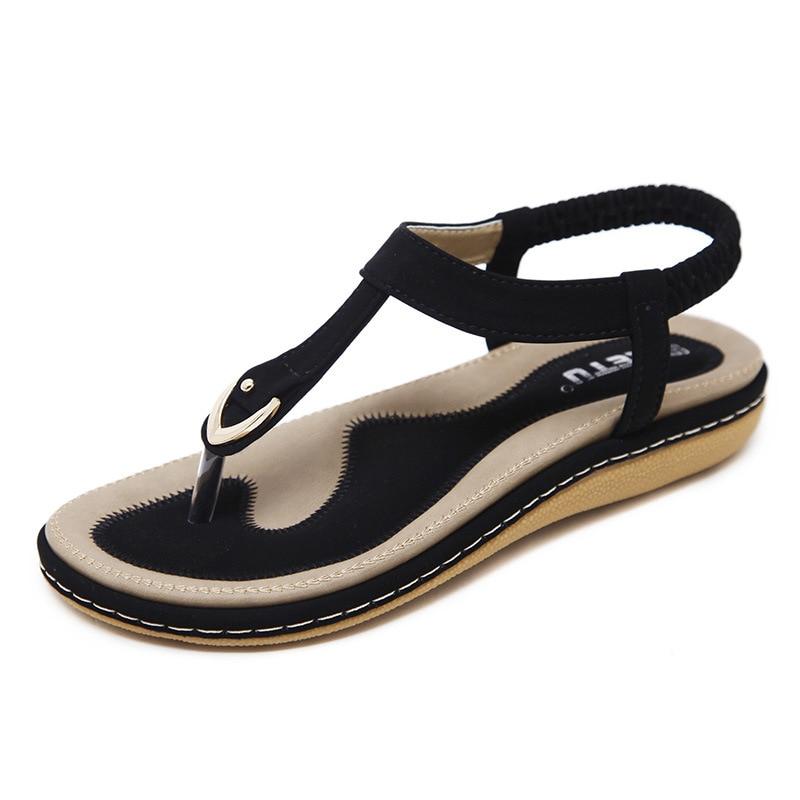 2019 Summer New Women's Sandals Metal Buckle Decoration Comfortable Pinch Set Foot Elastic Band Non-slip Sandals Outdoor Shoes
