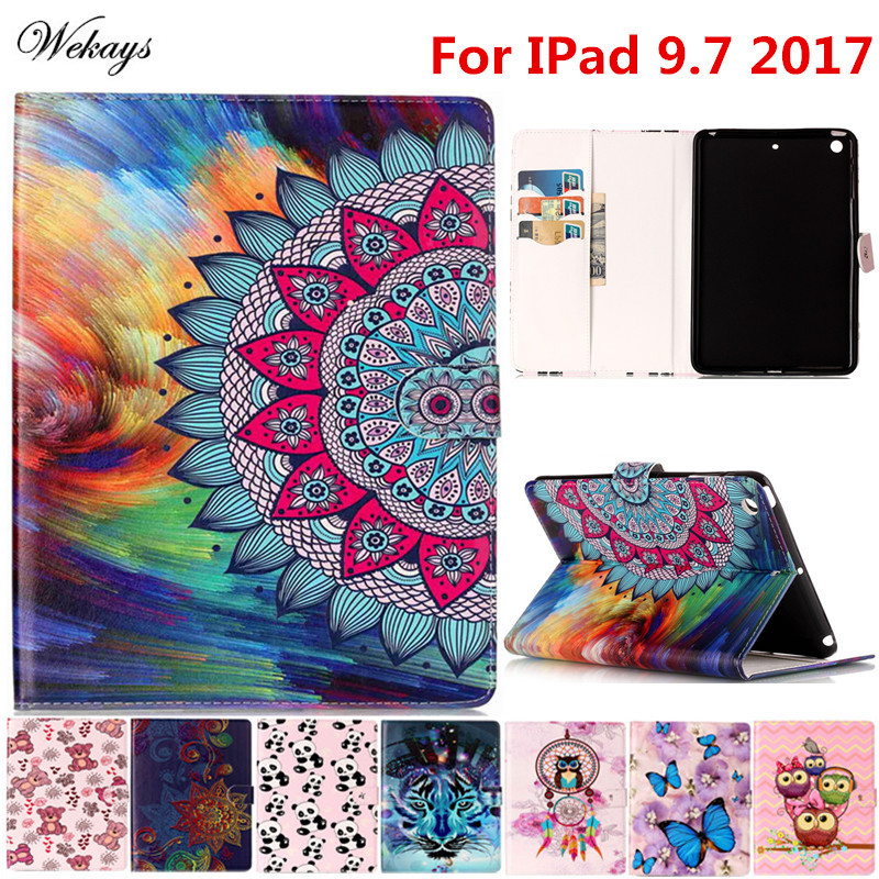 Wekays For Apple IPad 9.7 inch 2017 Cartoon Oil Leather Fundas Case For Coque IPad 9.7 2017 A1822 A1823 Tablet Cover Cases Kids coque fundas for apple ipad air ii 2 pu leather stand luxury new cover case for ipad 6 a1566 a1567 9 7 inch cartton wallet shell