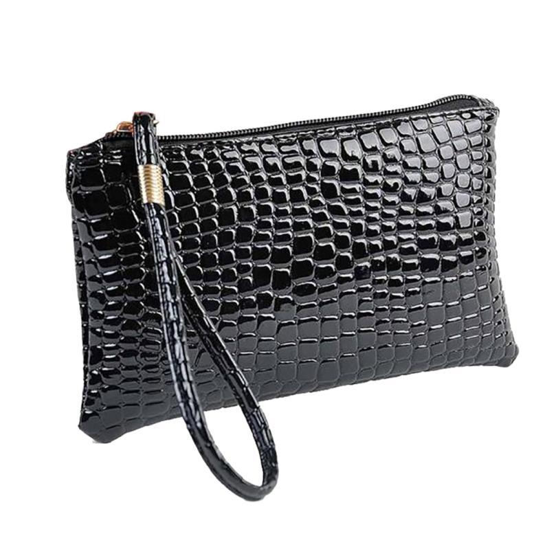 Кошелек для монет, Женский кошелек, пять цветов, Крокодиловая Кожа, клатч, сумка, кошелек для монет, короткие модные стильные сумки для женщин - Цвет: Черный