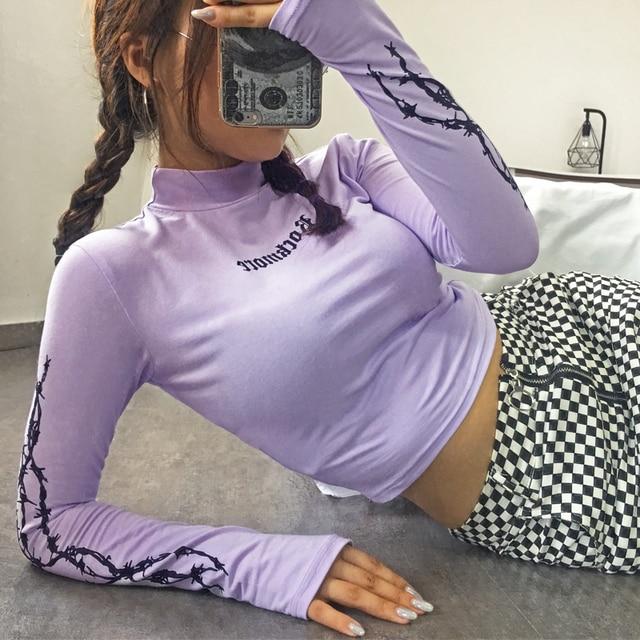 Sweetown Harajuku Crop Top Long Sleeve Turtleneck T Shirt purple Korean fashion Style graphic tees Women Printed Kawaii Tshirt 3