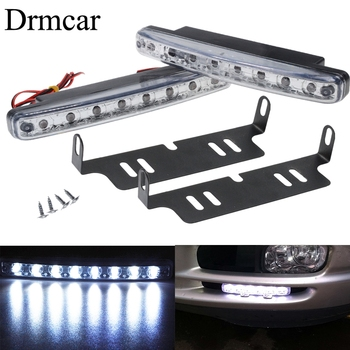 1pcs Auto DRL Car Headlight Day time Running Lights with Waterproof Lens 8LED White DC 12v Head Lamp Parking Bulb Fog Light цена 2017