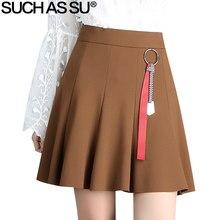 Such como su nueva 2018 punto plisado falda mujeres Primavera Verano negro  Brown sexy mini falda 2852101e5c0f