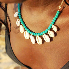 Gold Silver Chain Bohemian shell choker necklace vintage BLUE Stone beads natural boho Beach jewelry for womenXZ004