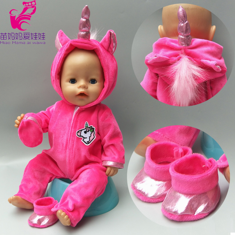 baby dolls clothes 43cm born Baby doll fur unicorn outfit set for 40cm reborn baby doll coat hoodie suit with for toy wear цена