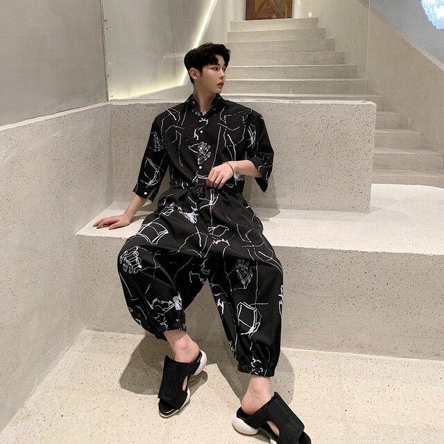 Men Summer Short Sleeve Loose Casual Shirt Jumpsuits Cross Pants Male Streetwear Hip Hop Fashion Overalls Harem Trousers 1