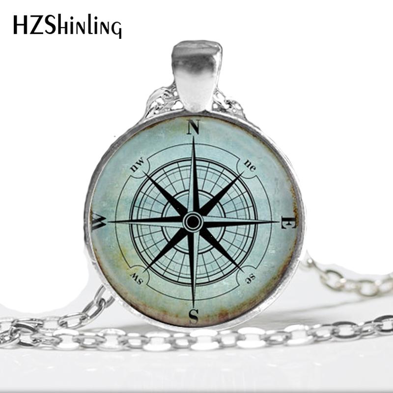 Glass Dome Necklace Vintage Compass Necklace, Compass Rose, Wind Rose, Nautical Jewelry, Sailor's, Ocean Art Pendant HZ1