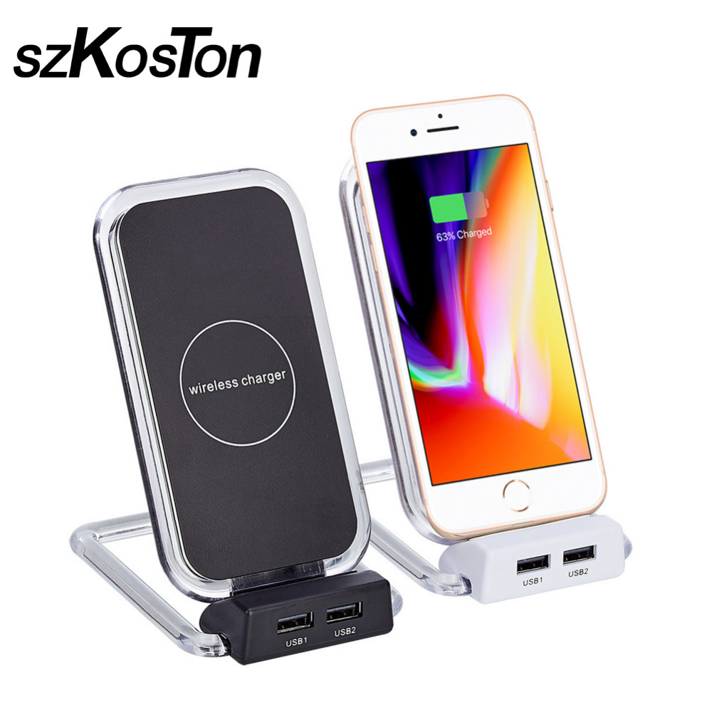 Qi Wireless Charger Stand Dual USB Wireless Charging Pad