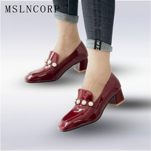 Plus Size 34-47 Patent Leather women pumps luxury handmade pearls Dress shoes Square Toe heels office party Wedding