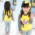 Горячая распродажа Size100 ~ 140 топы тройники ребенок одежда девочек - футболки для детей с длинным рукавами футболки весна осень кошка желтый