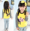 Hot Sale Size100~140  kids tops tees child clothing girls t-shirts for children long sleeve t shirts spring autumn cat yellow