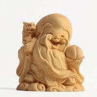 Rosewood handicraft Buddha s Q version of longevity decoration boxwood carvings Buddha Maitreya wood hand pieces Jushi