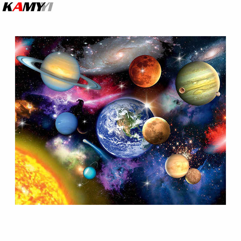 Full Square Round Drill 5D DIY Diamond Painting Space planet 3D Embroidery Cross Stitch Mosaic Home Decor 20x25 NMX