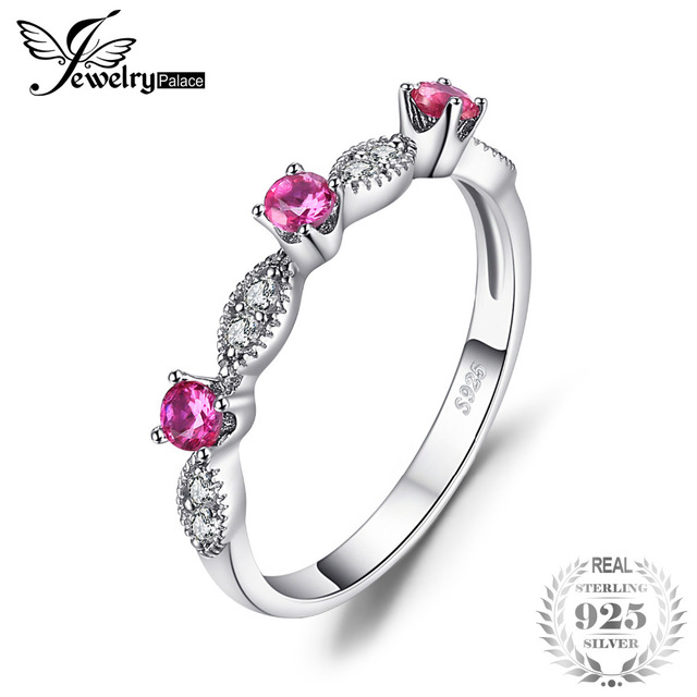 JewelryPalace 3 Stone Round 0.45ct Created Ruby Engagement Wedding Rings For Wom