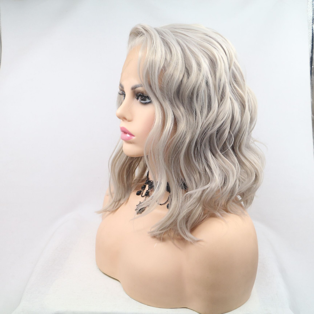 Fantasy Beauty Heat Resistant Fiber Silver Grey Synthetic Bob Cut Lace Front Short Gray Wigs For
