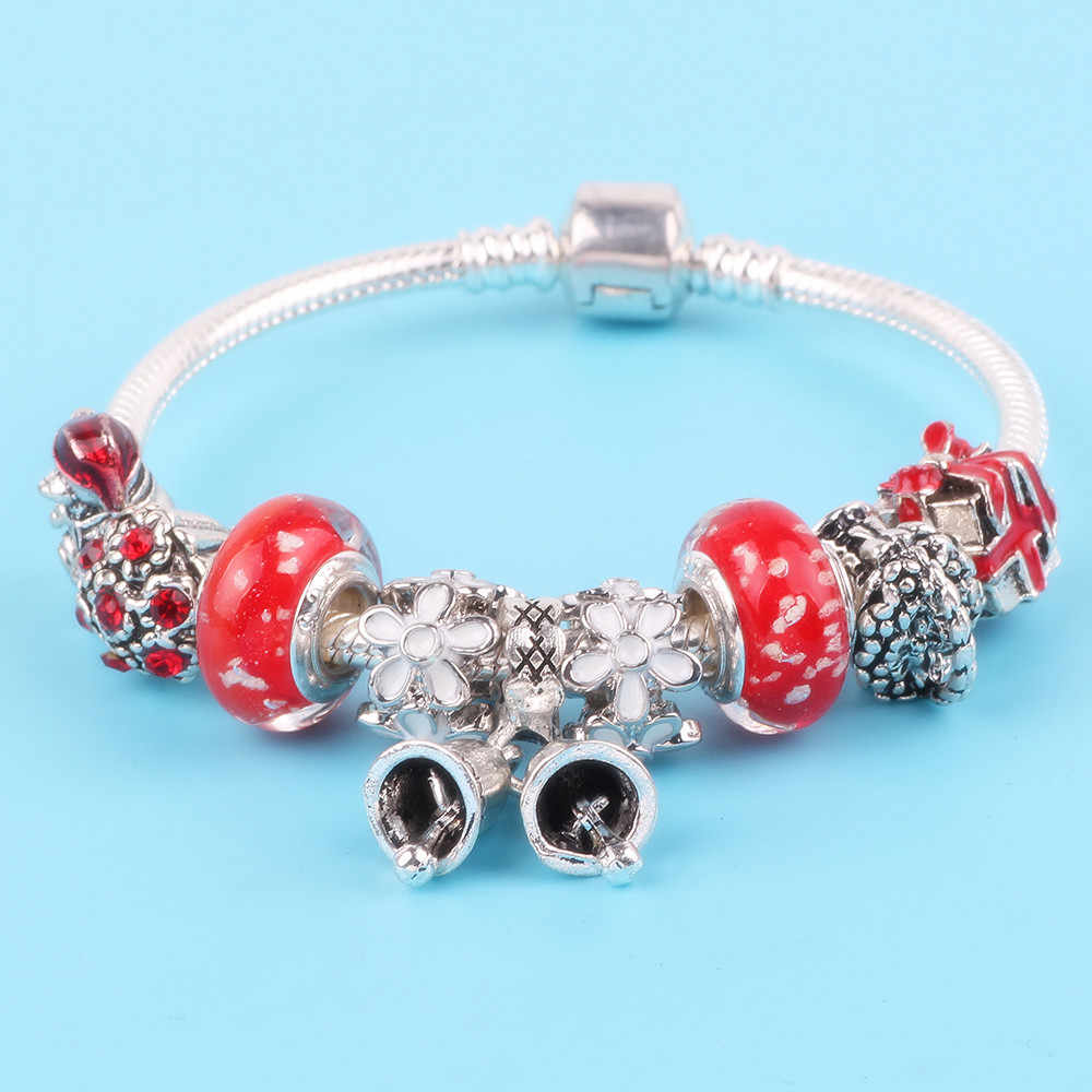 AIFEILI Cute Sweet Style Bear Rose Bouquet Gift Box Series European Charm DIY Fit Women Bracelet Feminine Jewelry Hot Sale