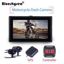 Blueskysea T2 Motorcycle Twin Camera 3″ Motorbike Dual HD Dash Cam Action Camcorder GPS Video Recorder Waterproof Night Vision