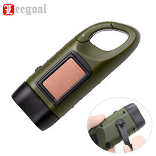 Hand Crank Solar Powered Flashlight Emergency Rechargeable LED Flashlight Quick Snap Carbiner Dynamo Flashlight Torch for Trip(China)
