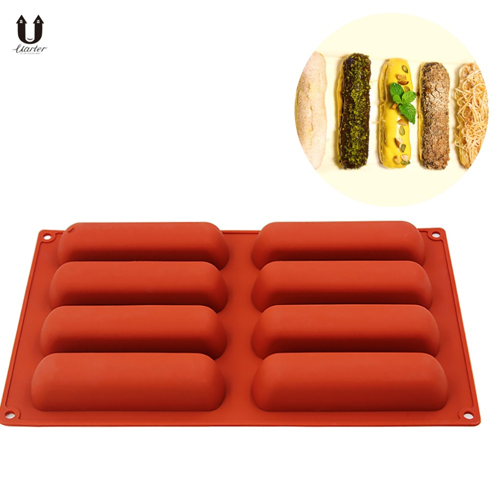 Uarter Silicone Cake Mold Non-stick Cake Tray Mould Non-toxic Lady Finger Molds Heat-resistant Puff Mould