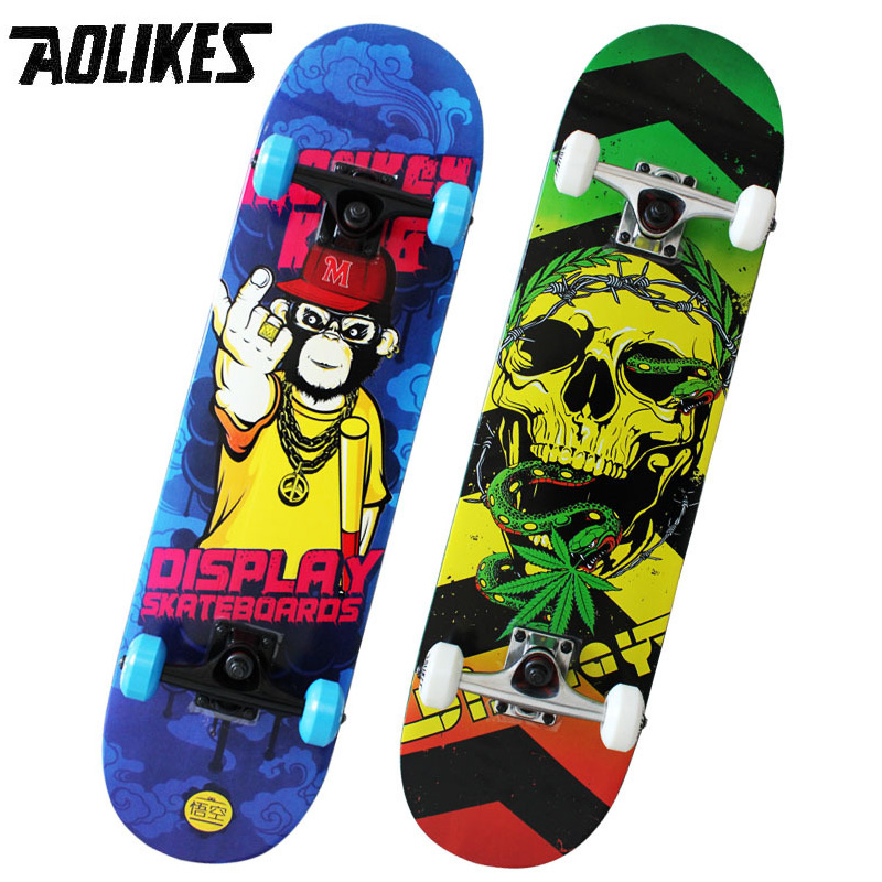 Adult 31 inch Long Maple Four Wheel Skate Board AOLIKES Brand Double Alice Highway Skateboard Cruiser Cool Brush Street Board
