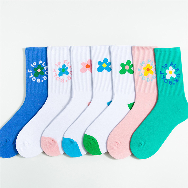 New Sun Flower Women's Socks Fashion Cotton High Socks Long Funny Socks Female  Harajuku Casual Socks Students Hosiery