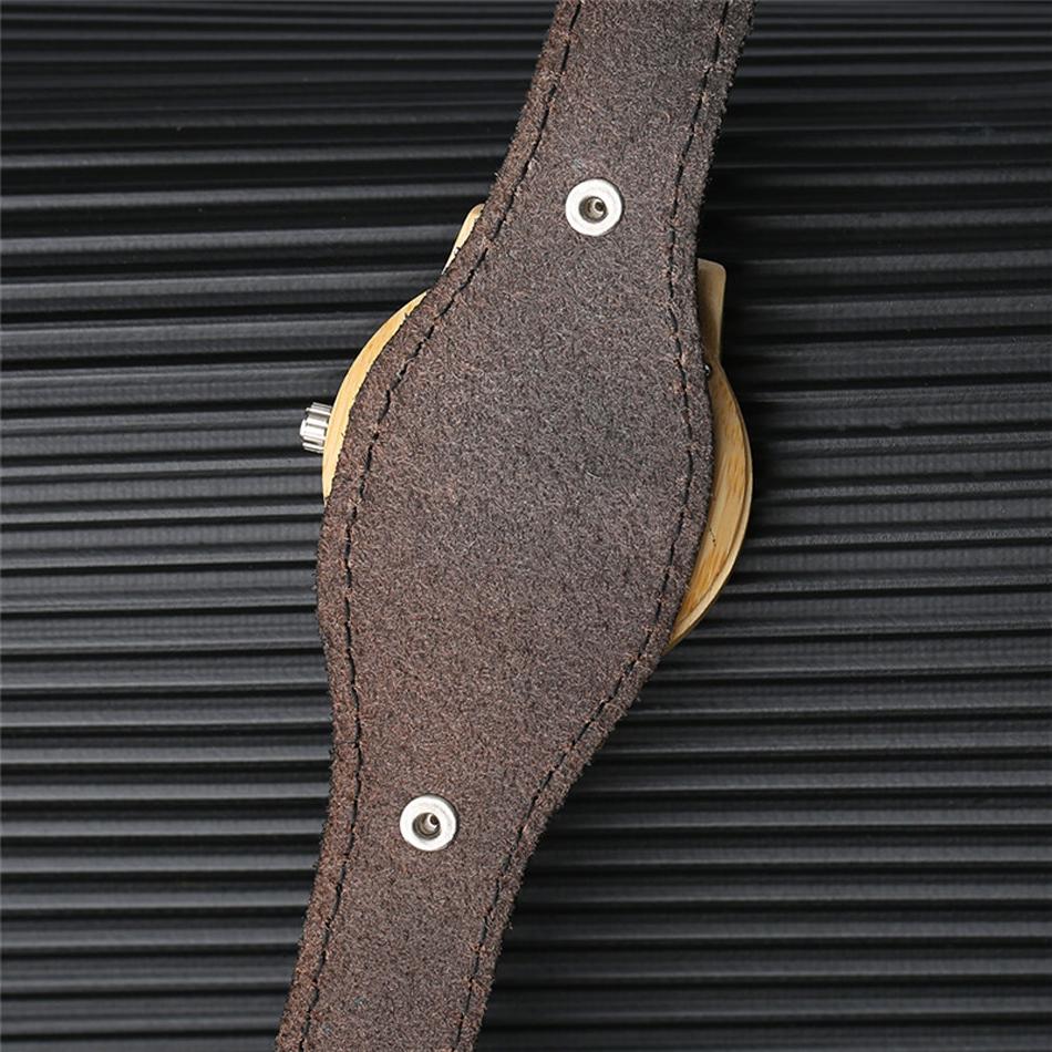 YISUYA Deer Wooden Watch Men's Bamboo Leather Wood Quartz Watches Gift relogio de madeira (3)