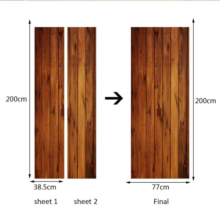 Image 5 - 2 pcs/set Creative Wood Door Wall Stickers Bedroom Home Decoration Poster PVC Waterproof Door Stickers Imitation 3D Decal-in Door Stickers from Home & Garden