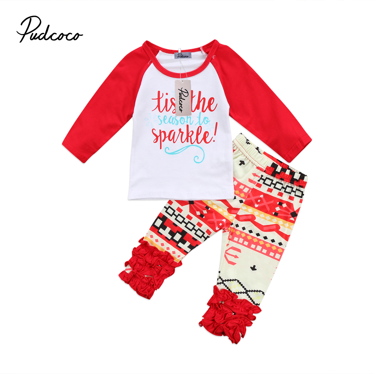 Pudcoco Toddler Baby Girls Clothes Cotton Long Sleeve O-Neck T-shirt Pants Leggings Outfits Set 0-24Months Helen115