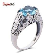 Szjinao South Korea's palace restoring ancient ways crown 925 sterling silver sea aqumarine ring bulgaria jewelry