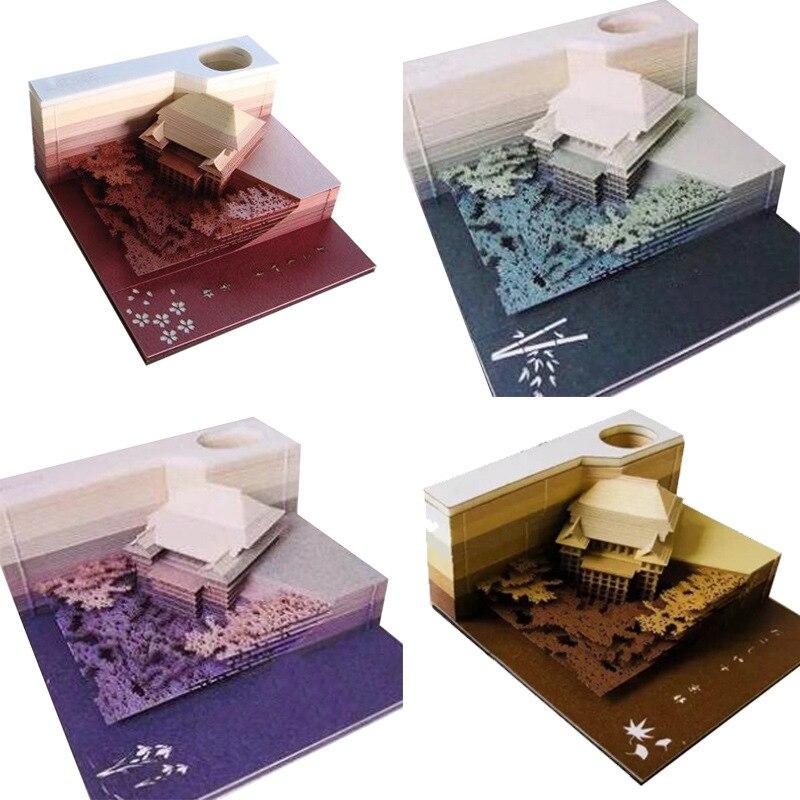 Modèle de construction créatif 3D Notes collantes amour Message carte réfrigérateur aimant vacances cadeau