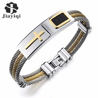 Jiayiqi Cool Men Bracelet CZ Cross Design Stainless Steel Wire Chain Cuff Bangles For Men Jewelry