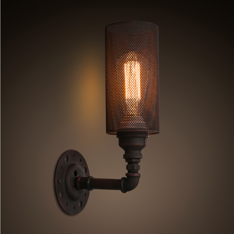 ФОТО Nordic American Retro Industrial Vintage Edison Rust Loft Wall Light  IRON NET Lamp Cafe Bar Hall Club Store Restaurant Corridor