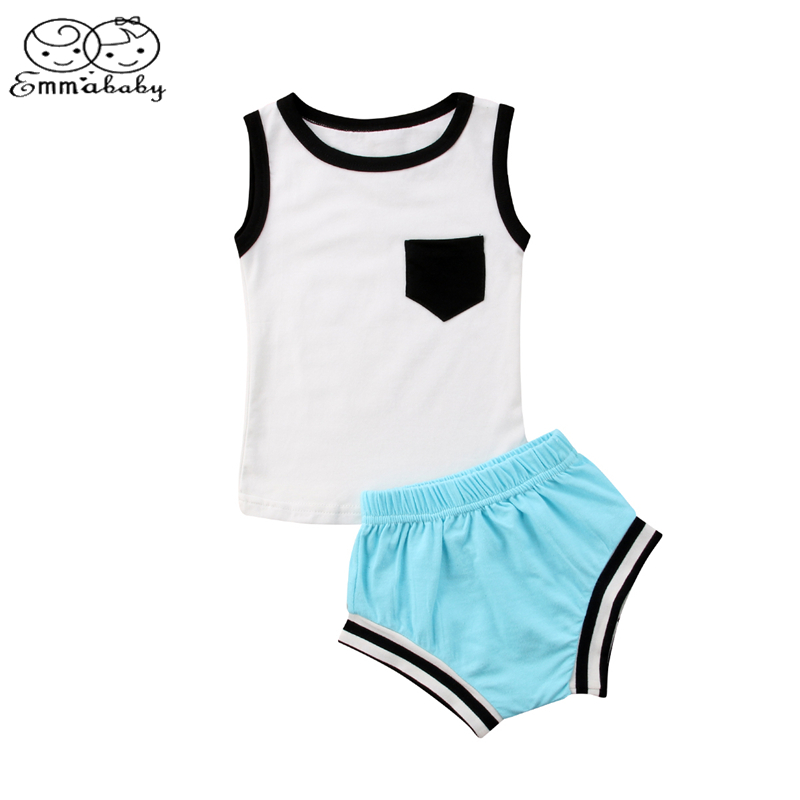 Emmababy Newborn Infant Baby Boy Girl Sleeveless T shirt Vest Tops+Triangle shorts 2Pcs Set Outfits Summer Clothes newborn infant baby boy girl clothes hooded vest top short pants outfits set 2pcs suit summer baby boy clothes