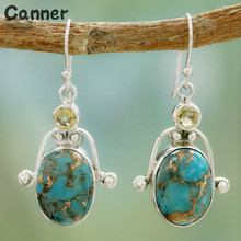 Canner Fashion Vintage Silver Stone Drop Earrings For Women Crystal Bohemia Ethnic Style Dangle Earrings Party Gifts new ethnic bohemia dangle drop moonstone earrings for women tibetan silver earring vintage earings fashion jewelry party gifts
