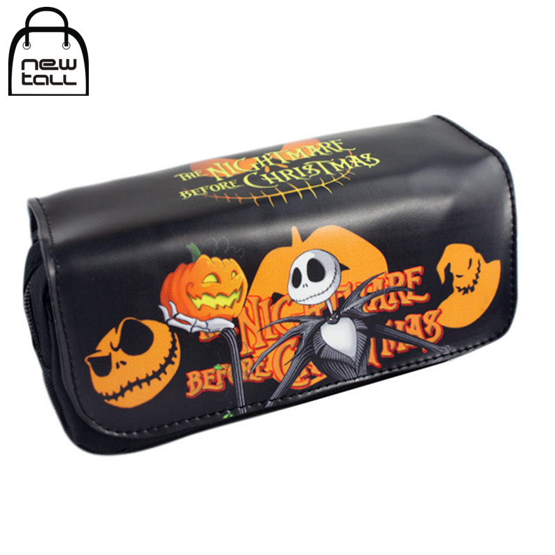 [NEWTALL] The Nightmare Before Christmas Jack Pumpkins Pen Case Large Organizer Wallet Double Zipper Stationery Bag T1404 long style pu wallet of the nightmare before christmas skull jack with button and multi layer