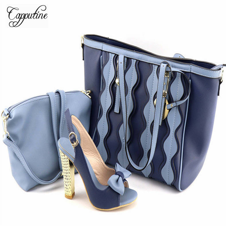 Capputine High Quality PU Leather Blue Color Woman Shoes And Bags Set African High Heels Shoes And HandBag Set For Party JY2018 capputine european style elegant rhinestone shoes and bags set african style woman high heels shoes and bags for wedding party