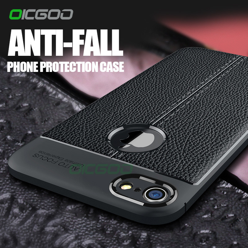 OICGOO Luxury Litchi Leather Pattern Soft Case For iPhone 8 7 6 6s Plus X 10 Cover Cases For iPhone 6 7 8 Plus Shockproof Case