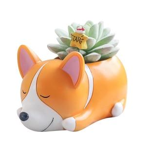 Image 2 - Roogo 8 kreatywny psy w stylu kreskówki wazon na kwiaty soczysty żywiczny śliczne ze śpiącym zwierzęciem do tyłu uczniowie doniczka prezent