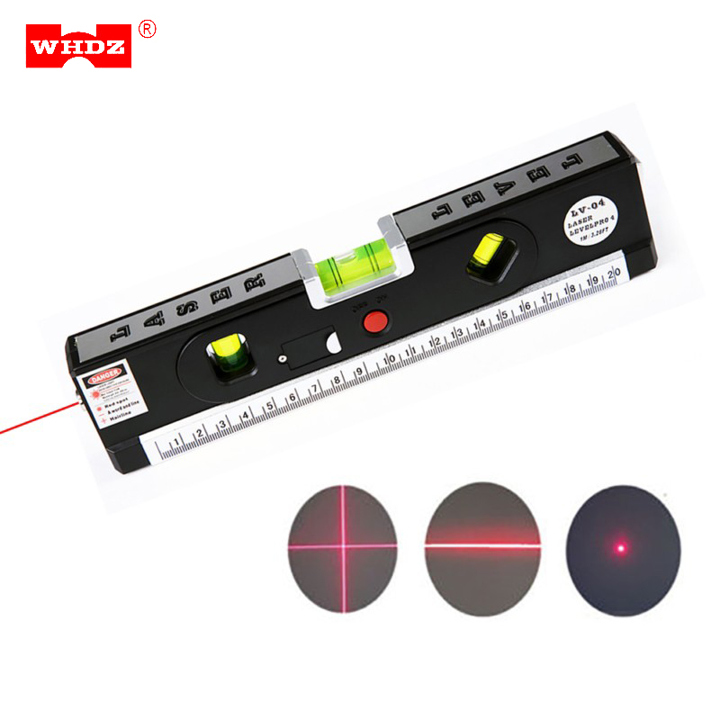 WHDZ Laser Levels Horizon Vertical Light 8-foot Measuring Tape Marking Line Construction Tools Leveler 2 ways Level Bubbles